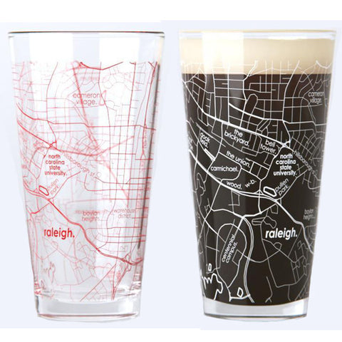 NC State University College Town Map Pint Glass Pair