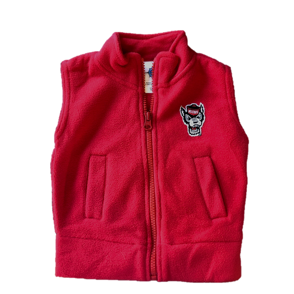NC State Wolfpack Infant/Toddler Red Wolfhead Polar Fleece Vest