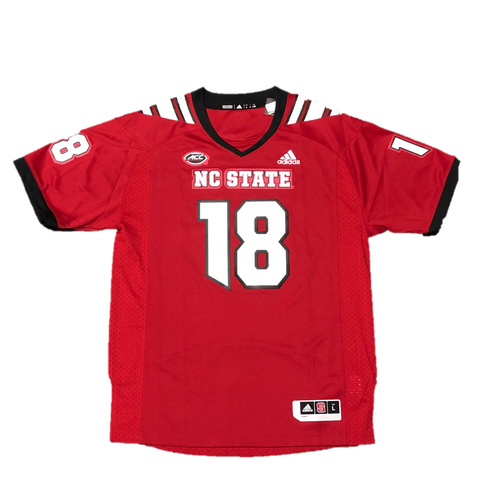 NC State Wolfpack Adidas Red 2018 Premier #18 Football Jersey