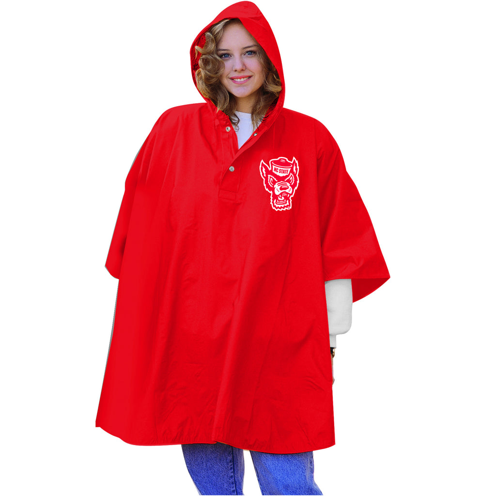 NC State Wolfpack Red Wolfhead Heavy Weight Rain Poncho