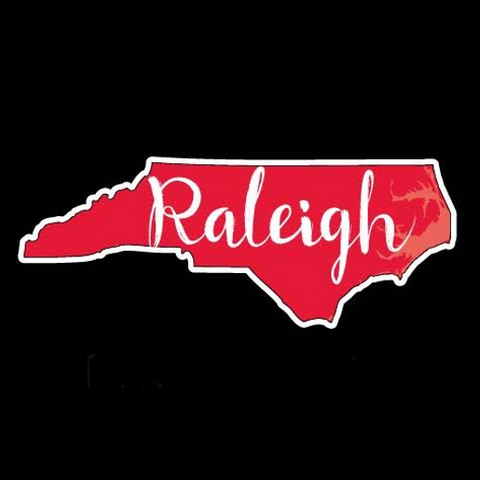 "Red State With Raleigh Script 6"" Vinyl Decal"