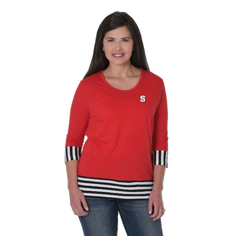 NC State Wolfpack Women's Red Block S Striped Panel Shirt