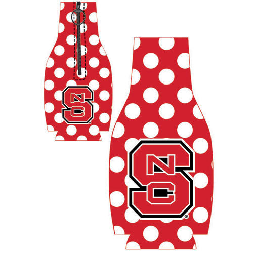 NC State Wolfpack Red Polka Dot Zip Up Bottle Coozie