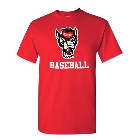 NC State Wolfpack Red Wolfhead Baseball T-Shirt
