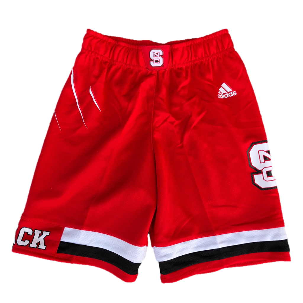 NC State Wolfpack Adidas Kid's Red 2017 Road Replica Basketball Shorts
