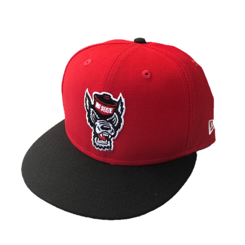 NC State Wolfpack New Era Red and Black Wolfhead Flatbill Snapback Hat