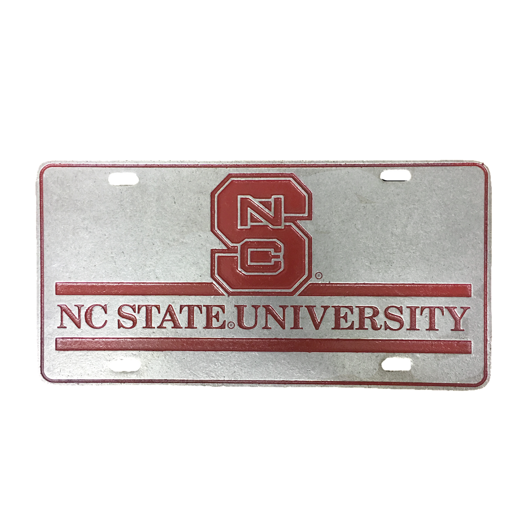 NC State Wolfpack University Red Block S Pewter License Plate