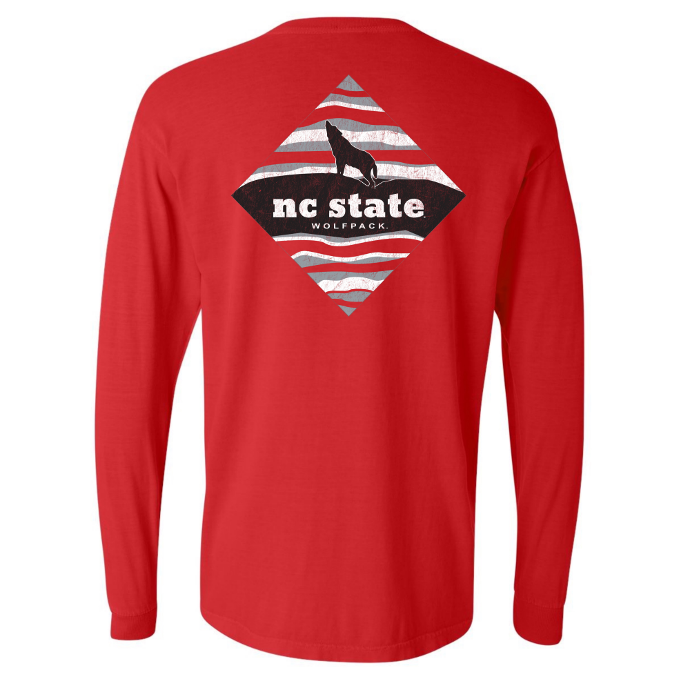 NC State Wolfpack Comfort Colors Red Howling Wolf L/S T-Shirt