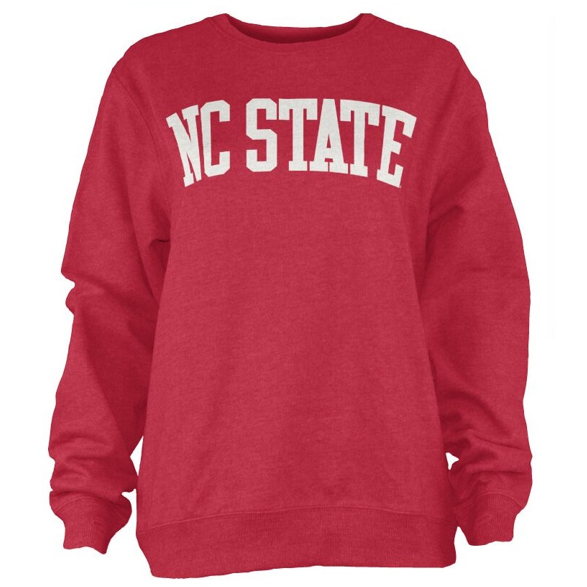 NC State Wolfpack Red Coastal Arch Fleece Crewneck Sweatshirt