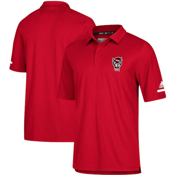 NC State Wolfpack Adidas 2018 Red Wolfhead Football Sideline Coaches Polo