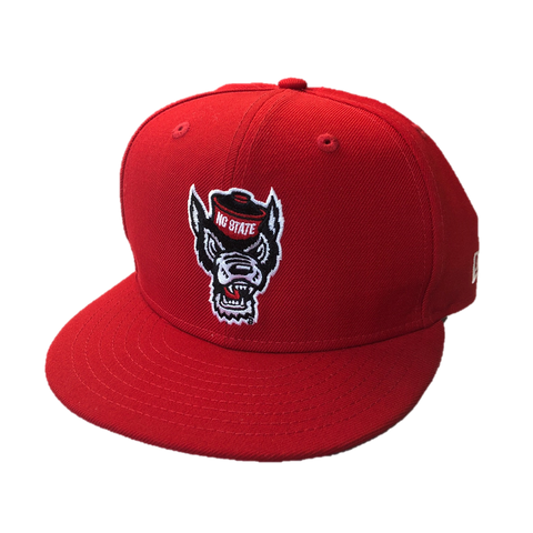NC State Wolfpack New Era Red Wolfhead Flatbill Snapback Hat