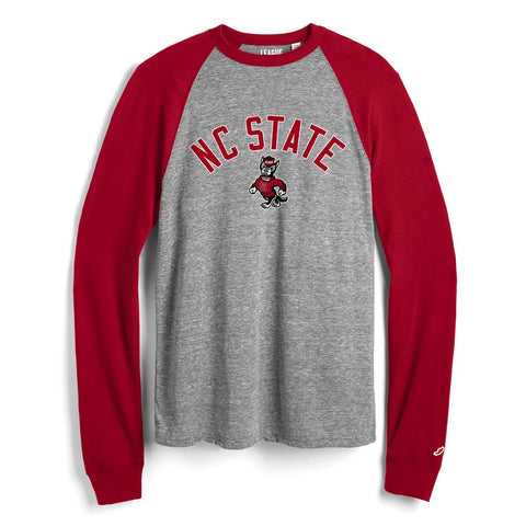 NC State Wolfpack Grey and Red Heritage Baseball Tee