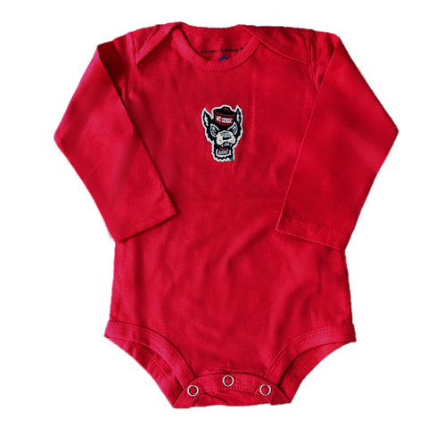 NC State Wolfpack Infant Red Wolfhead Long Sleeve Onesie