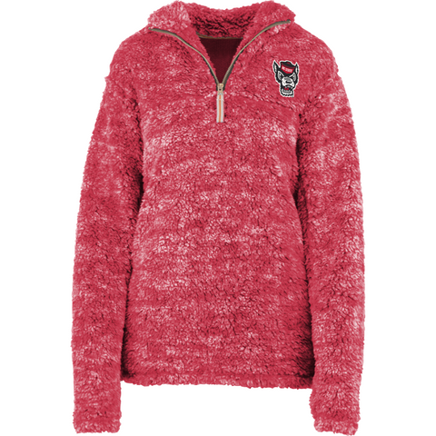 NC State Wolfpack Women's Red Wolfhead 1/4 Zip Poodle Fleece Jacket