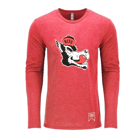 NC State Wolfpack Red Triblend Slobbering Wolf Long Sleeve T-Shirt