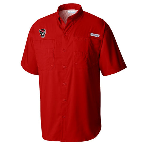 NC State Wolfpack Columbia Red Wolfhead Tamiami Button Down Shirt