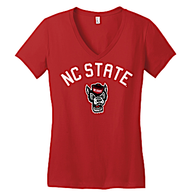 NC State Wolfpack Women's Red Wolfhead V-Neck T-Shirt