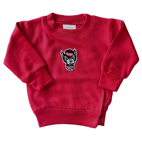 NC State Wolfpack Infant Red Wolfhead Crewneck Sweatshirt
