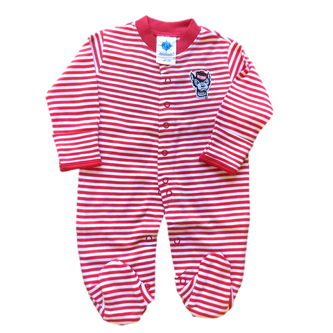 NC State Wolfpack Infant Red and White Striped Wolfhead Footed Romper