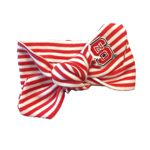 NC State Wolfpack Red and White Striped Hair Knot