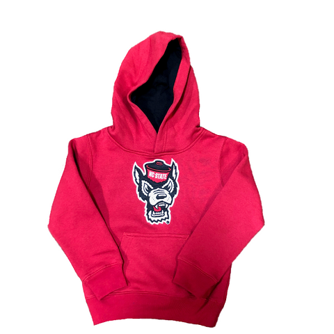 NC State Wolfpack Kid's Red Wolfhead Prime Fleece Hooded Sweatshirt