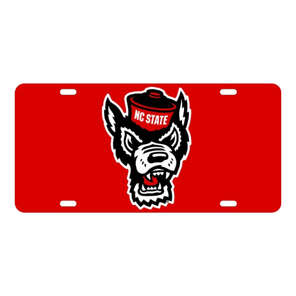 NC State Wolfpack Red Wolfhead Acrylic License Plate