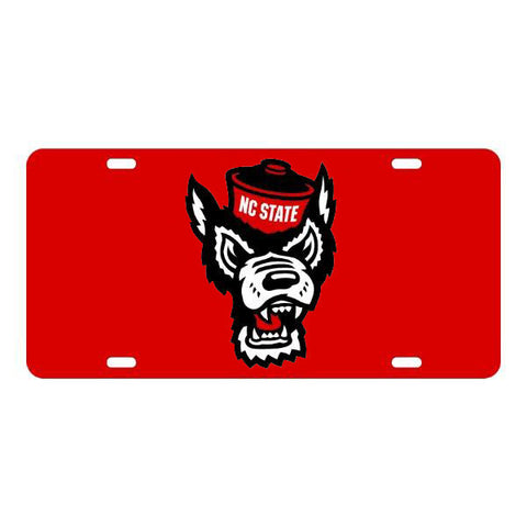 NC State Wolfpack Red Wolfhead w/White License Plate