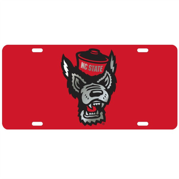 NC State Wolfpack Red Wolfhead License Plate