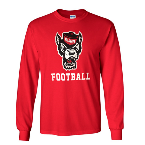 NC State Wolfpack Red Wolfhead Football Long Sleeve T-Shirt