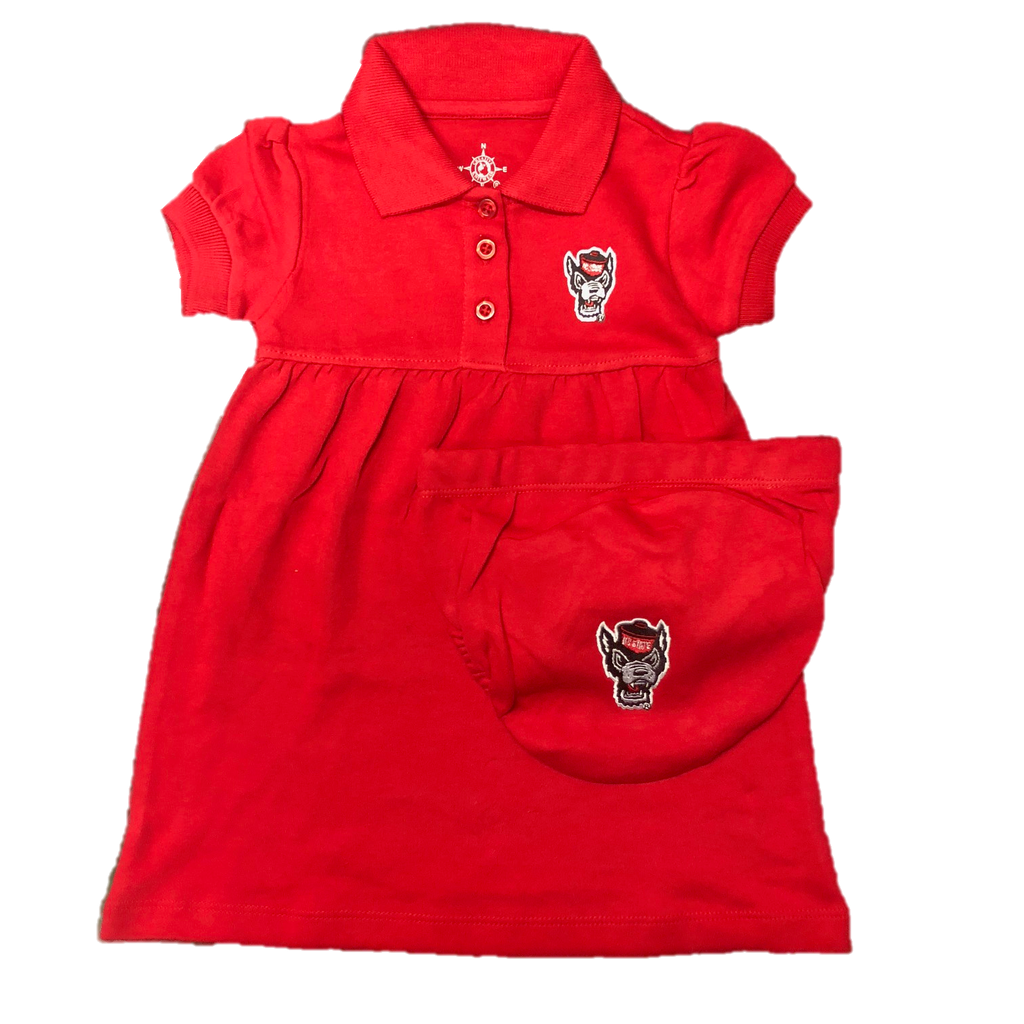 NC State Wolfpack Infant/Toddler Red Wolfhead Polo Dress