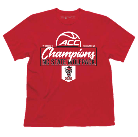 NC State Wolfpack Youth Women's Basketball Red 2020 ACC Champions T-Shirt
