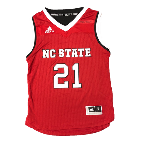NC State Wolfpack Adidas Kid's Red #21 Replica Basketball Jersey