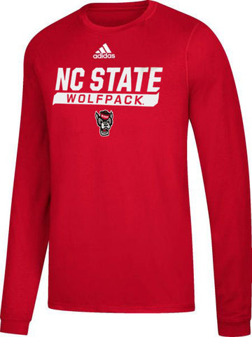 NC State Wolfpack Adidas Red Football Sideline Tail Sweep Climalite Long Sleeve T-Shirt