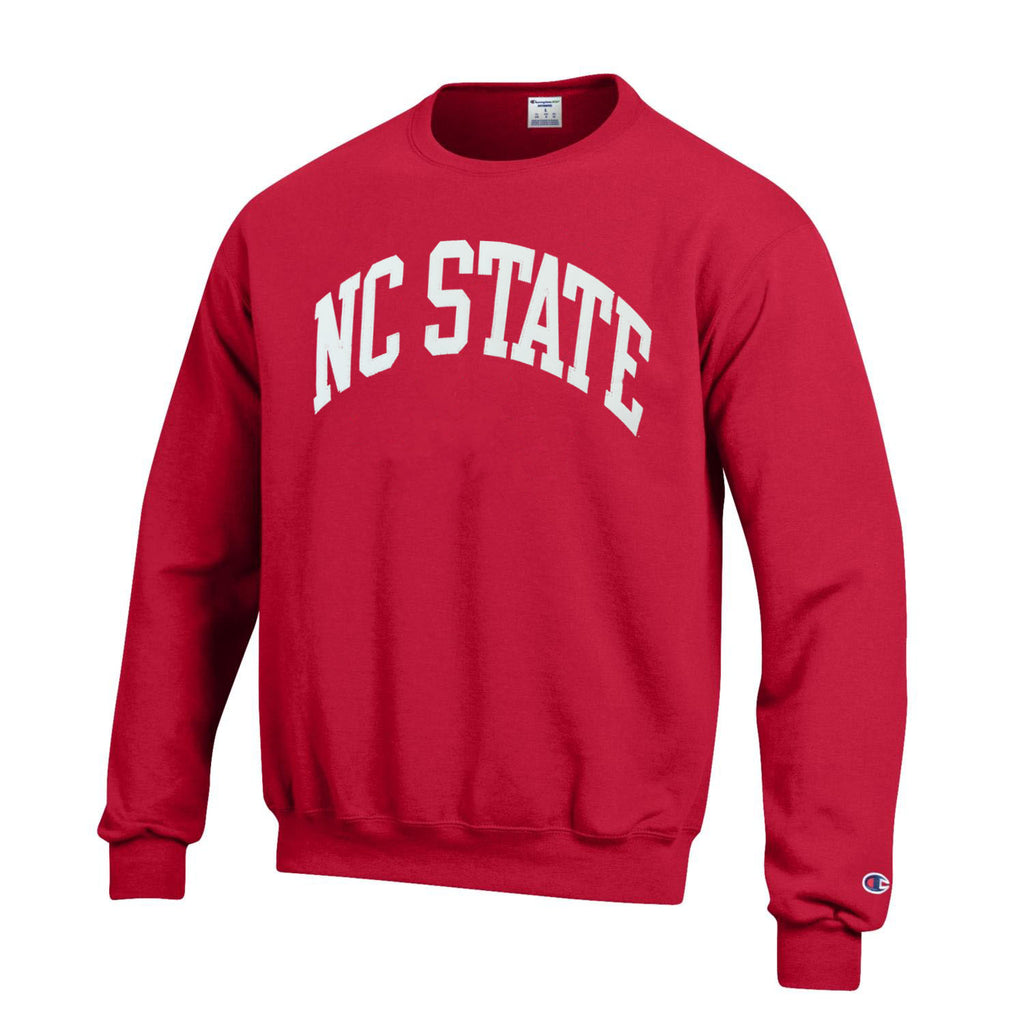 NC State Wolfpack Champion Red Powerblend Embroidered Arched NC State Crewneck Sweatshirt