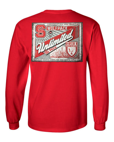 NC State Wolfpack Red Ducks Unlimited Label Long Sleeve T-Shirt