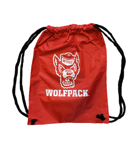 NC State Wolfpack Red Heavy Duty Drawstring Backpack