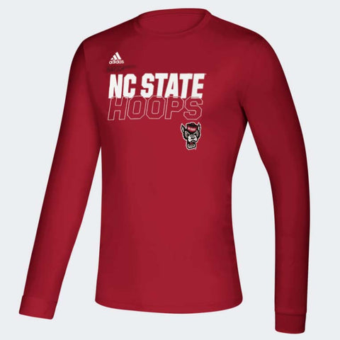 NC State Wolfpack Adidas Red On Court Basketball Hoops Creator Long Sleeve T-Shirt