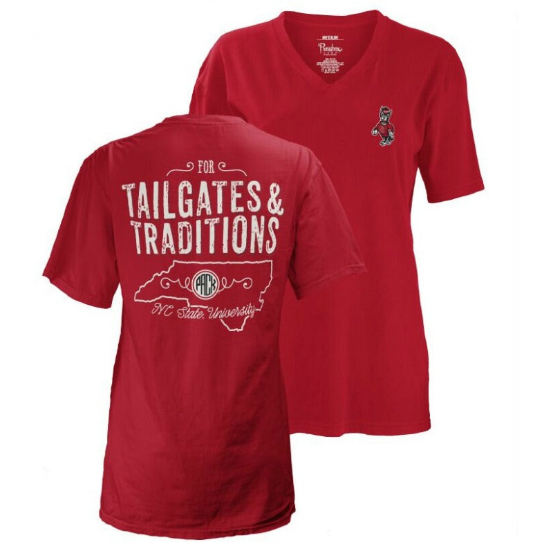 "NC State Wolfpack Women's ""Tailgates and Traditions"" Oversized V-Neck T-Shirt"