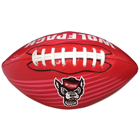 NC State Wolfpack Red and White Wolfhead Glossy Mini Football