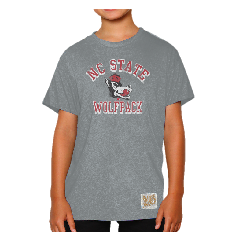 NC State Wolfpack Youth Grey Triblend Ringer Mock Twist Wolfhead
