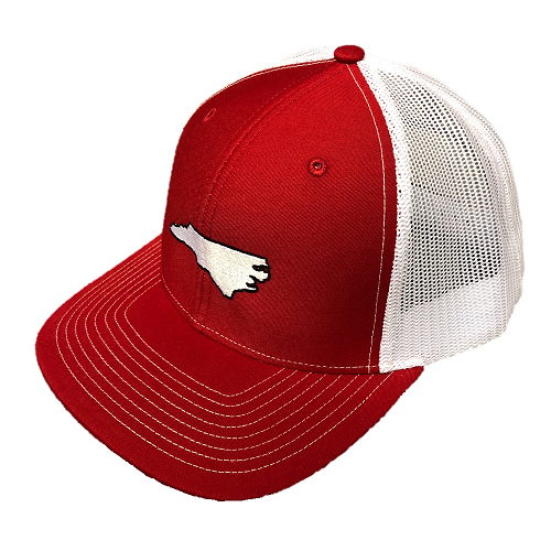 State Of North Carolina Red and White Mesh Adjustable Hat