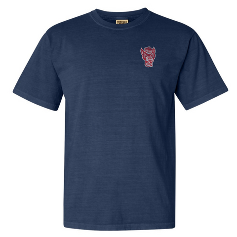 NC State Wolfpack Comfort Colors Navy Wolfhead  T-Shirt