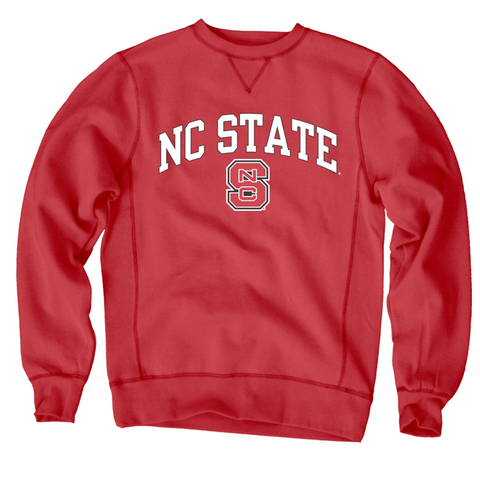 NC State Wolfpack Red Sanded Fleece Crewneck Sweatshirt