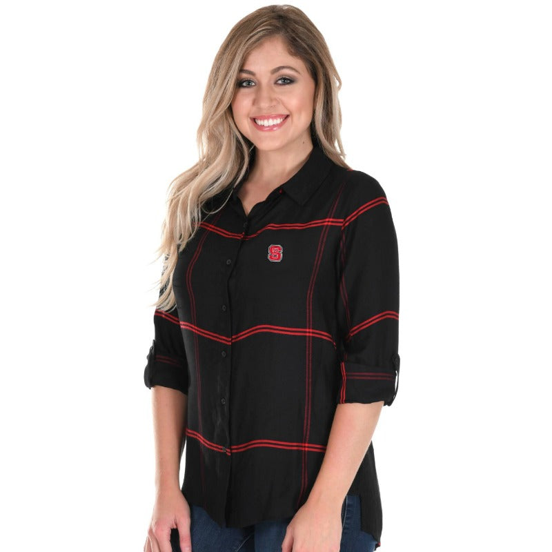 NC State Women's Satin Plaid Shirt