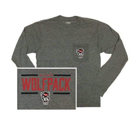 NC State Wolfpack Midnight Heather Wolfhead Pocket Long Sleeve T-Shirt