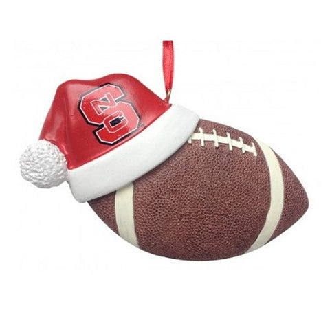 NC State Wolfpack Santa Hat With Football Ornament