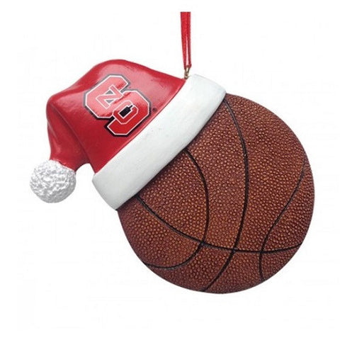 NC State Wolfpack Santa Hat With Basketball Ornament
