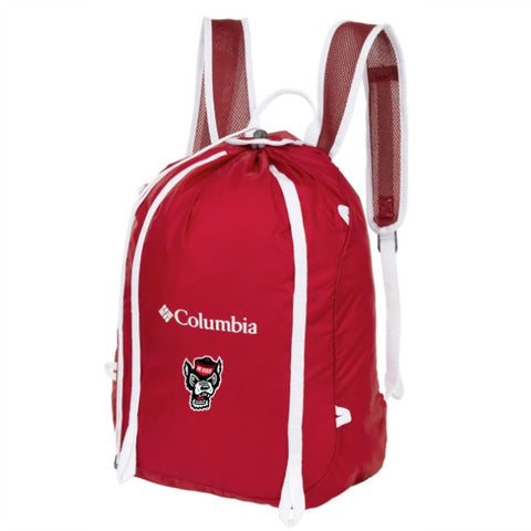 NC State Wolfpack Columbia Red Velvet Wolfhead Silver Falls Cinch Pack