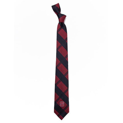 NC State Wolfpack Black and Red Skinny Plaid Tie