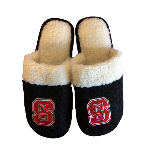 NC State Wolfpack Black Cable Knit Slippers